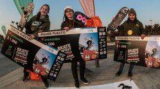 Aldana Bertrand, Melisa Ruiz y Nicky Duarte en el podio de San Nicolás.