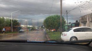 Corte de calle. Afectados por la tormenta