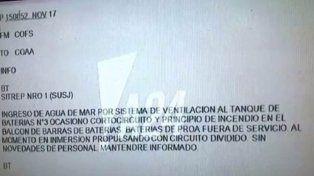 ARA San Juan: el último mensaje antes de su desaparición