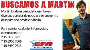 Buscan al periodista Martín Licata, desaparecido desde la mañana del sábado