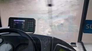 Chofer solidario: por la calle inundada llevó a cococho a una pasajera