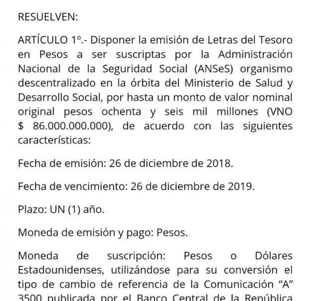 El Gobierno toma $86.000 millones de pesos de ANSES para pagar deuda