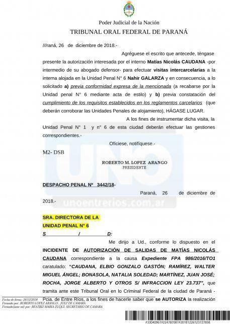 <b>La resolución.</b> El juez López Arango autorizó el pedido de Matías Caudana.