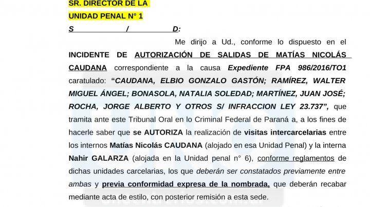 La Justicia autorizó los encuentros en la cárcel entre Caudana y Nahir Galarza
