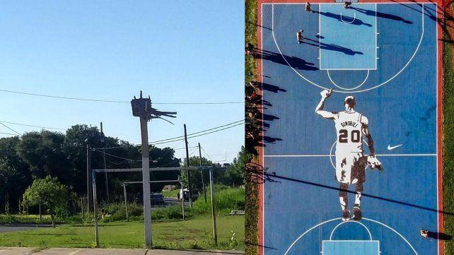 El aro del barrio Libertad y la cancha con la imagen de Manu en Saavedra.