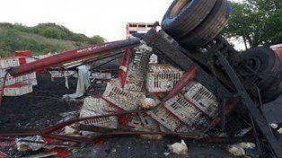 Un camión que transportaba pollos volcó y desparramó su carga en la ruta 20