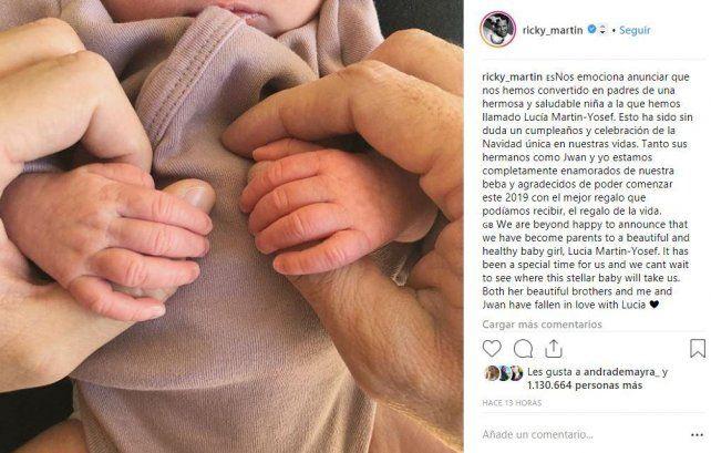 Ricky Martin y su esposo se convirtieron en papás de una nena