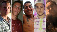 Los cinco amigos acusados: Lucas Pitman (21), Tomás Jaime (23), Juan Cruz Villalba (23), Emanuel Díaz (23) y Roberto Costa (21)