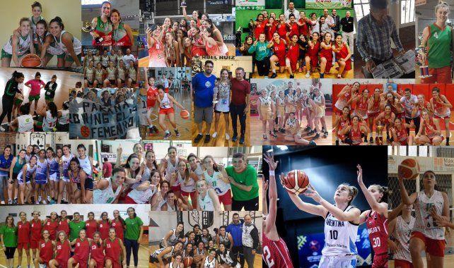 Collage. Postales del gran año de básquet femenino. La jugadora del Club Talleres Malvina DAgostino fue parte del Seleccionado