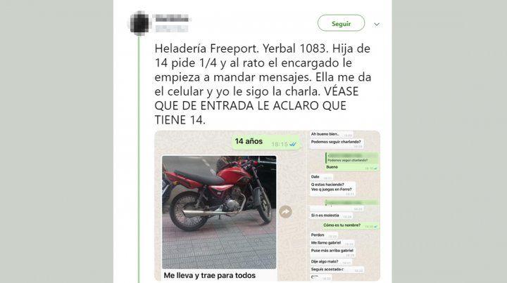 Una adolescente pidió helado, el delivery la acosó por WhatsApp y el padre lo denunció
