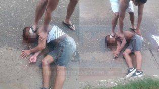 Las imágenes del ladrón reducido se viralizaron rápidamente.