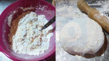 Dos tazas de harina, sal a gusto, tres cuarta taza de agua tibia, una cucharada sopera de grasa derretida para formar una masa suave.
