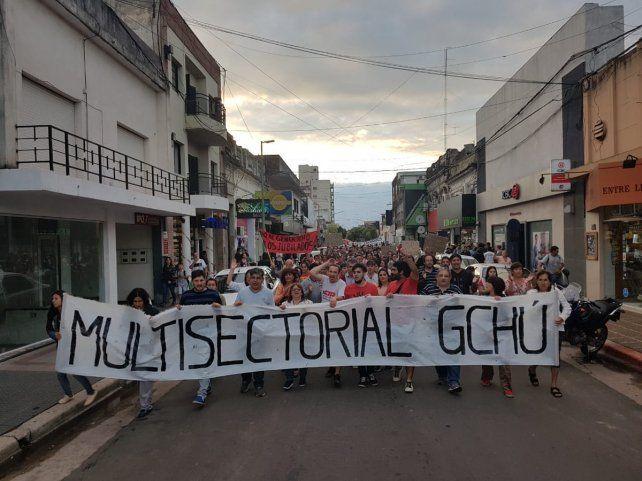 La movilización en el sur de Entre Ríos.
