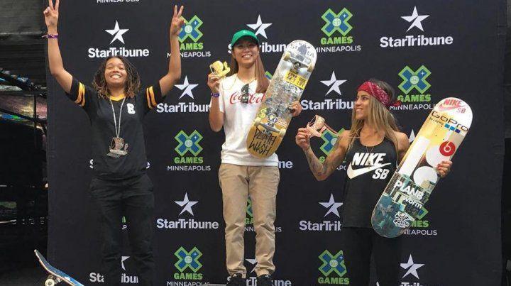 El podio del skate mundial en Río de Janeiro.