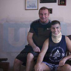 Apoyo incondicional. Nacho comenzó su etapa de rehabilitación, acompañado por su papá, Guillermo,