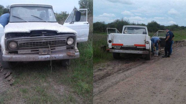 El ladrón abandonó la camioneta al costado de la ruta.