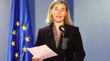 Dialoguista. La jefa de Exteriores de la UE, Federica Mogherini, firmó un comunicado con Tabaré Vázquez.
