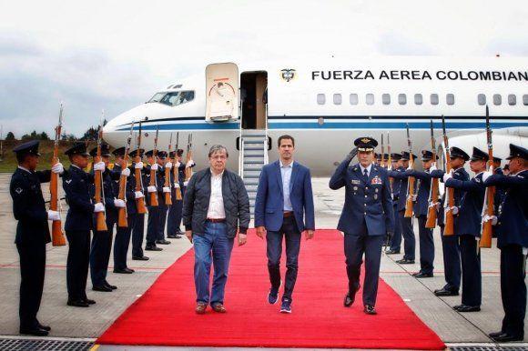 Juan Guaidó en su llegada a Bogotá. Foto: Cancillería Colombia