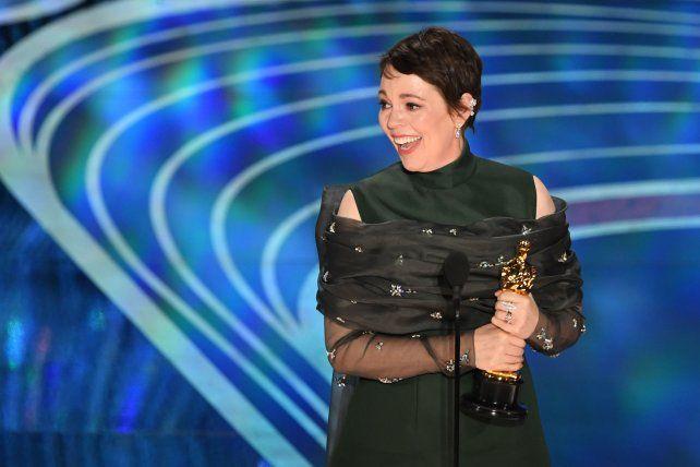 Olivia Colman luego de realizar un discurso magnífico.
