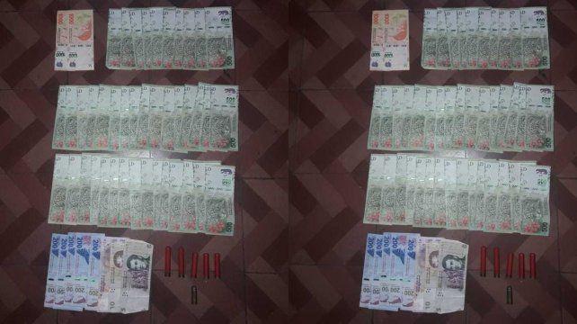 Parte del dinero recuperado por la policía.