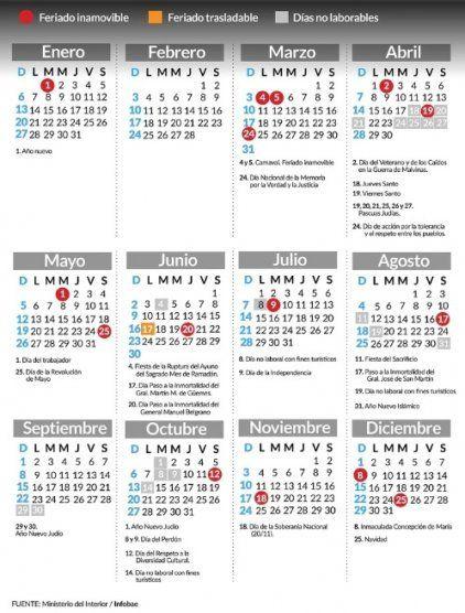 Estos son los feriados y los días no laborables de abril