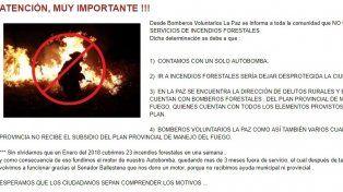El comunicado de Bomberos Voluntarios de La Paz circuló este jueves
