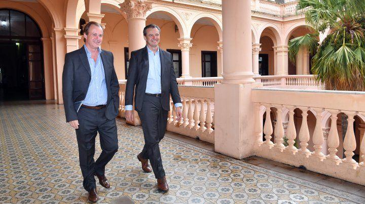 Juntos. El gobernador reforzó ayer el pedido del voto para que Bahl se convierta en intendente de Paraná.