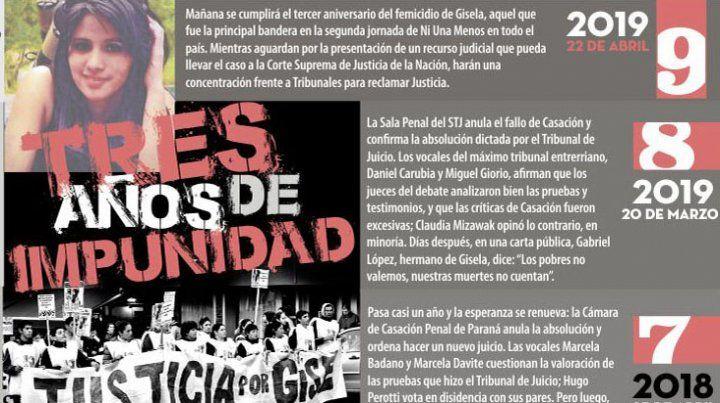 A tres años del femicidio, la familia de Gisela López pedirá justicia en Tribunales