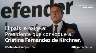 Sergio Massa le pide a Macri convocar a los líderes de la oposición, incluida CFK