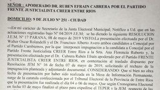 Se desestimó la impugnación contra una candidata a concejal de Bahl