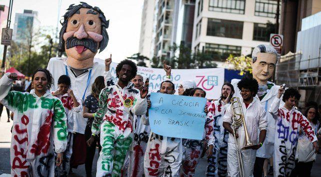 Protesta. Las calles de San Pablo se colmaron de docentes