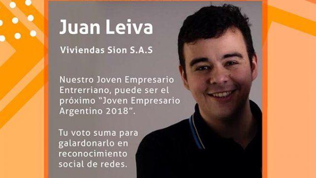 El entrerriano Juan Leiva competirá por el premio Joven Empresario Argentino