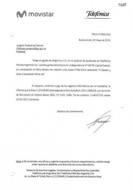 Movistar confirmó que DAlessio hablaba con un teléfono de Bullrich