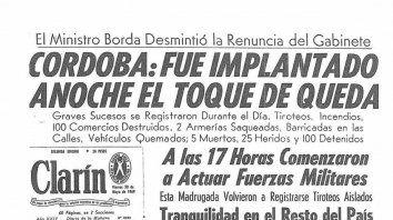 50 años del Cordobazo: la tapa de diario Clarín del 30 de mayo de 1969