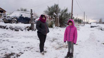 La primera nevada del año en la ciudad. Foto: Marcelo Martinez