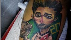 El tatuaje con la imagen de Milton Casco.
