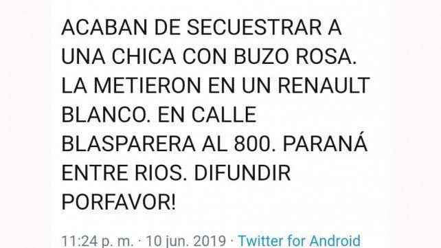 Es falso el mensaje sobre un secuestro en Paraná