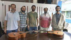 Quinteto. Luis Medina, Sebastián Narváez, Mauro Leyes, Carlos Aguirre y Mauricio Laferrara.