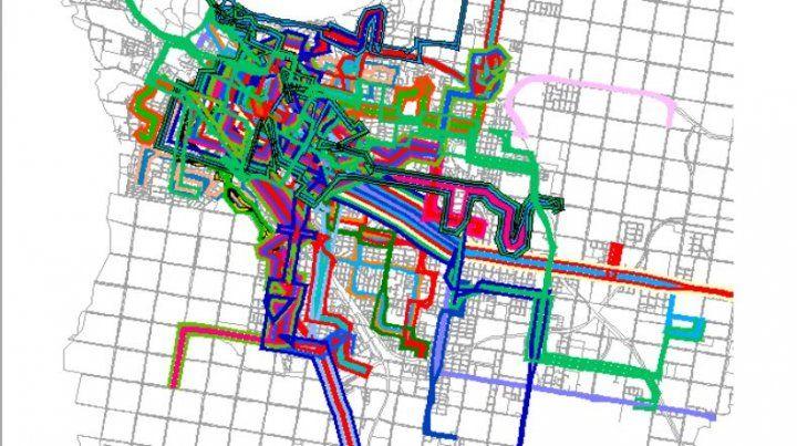 El mapa del transporte público en Paraná hace 11 años.