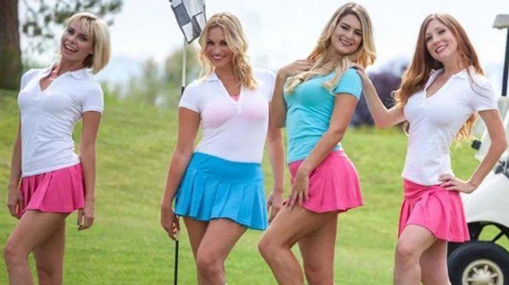 Indigna promo de torneo de golf con mujeres caddies desnudas