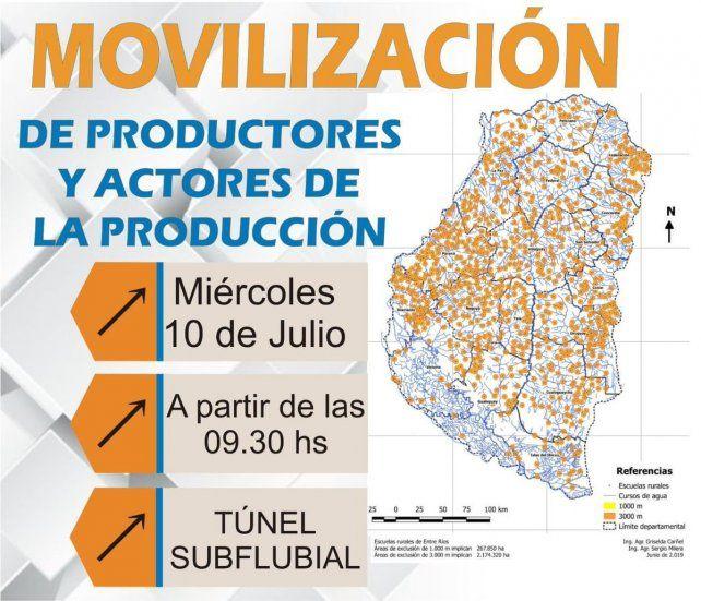 Productores rurales protestarán en el Túnel Subfluvial