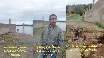 denuncian la construccion de un muro que corta el paso al rio