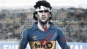 La caricatura de Gonza Rodríguez, lo representa durante su paso por Boca Juniors.