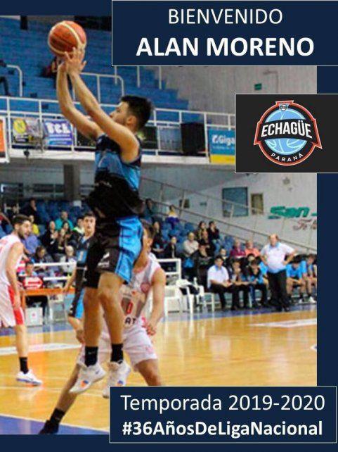 Moreno jugó en la temporada anterior en Echagüe