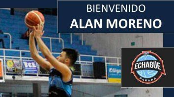 Moreno jugó en la temporada anterior en Echagüe, con 39 partidos, con promedios de 15,6 minutos.