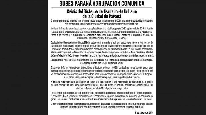 Este es el texto de la Solicitada de Buses Paraná