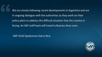 fmi: seguimos de cerca los desarrollos recientes en argentina