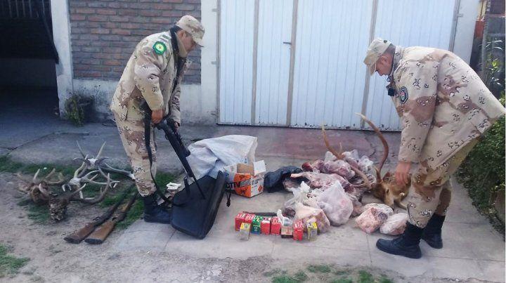 Hallan armas, carnes, cuero y cornamentas de animales silvestres producto de la caza furtiva
