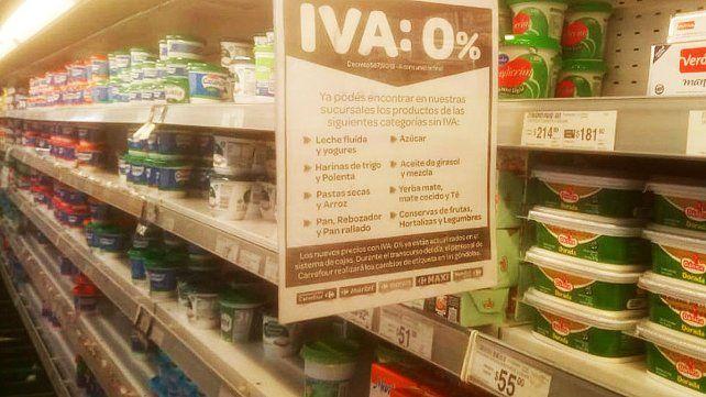 La quita del IVA en alimentos impactó solo en supermercados