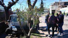 chocaron un tapial, una reja y un arbol, por huir de la policia